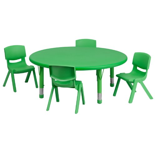 (Flash Furniture 45'' Round Green Plastic Height Adjustable Activity Table Set with 4 Chairs)