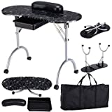 Manicure Nail Table Portable Station Desk Spa Beauty Salon Equipment Black
