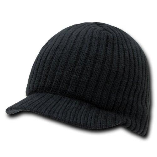 Decky Knit Visor Beanie (Decky Knit Visor Beanie Campus Jeep Cap Black)