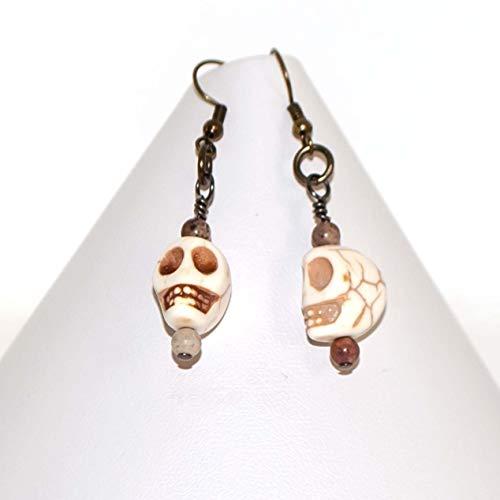 Sugar Skull Earrings White Turquoise Dangling Day of the Dead Earrings