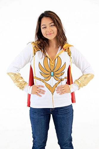 Mighty Fine Masters Of The Universe I Am She Ra White Hoodie With Cape (Juniors XX-Large) by Mighty Fine (Image #1)
