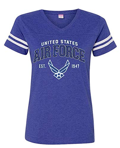 Joe Blow Vintage Air Force Vintage Wings Logo Striped Sleeve Women's V-Neck-XXL (Air Force Wings T-shirt)