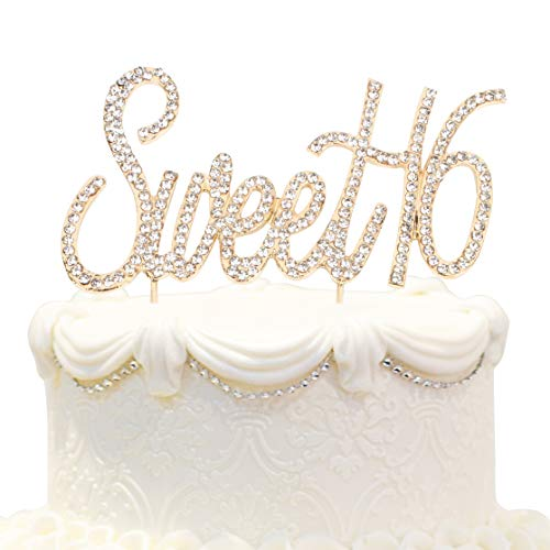 Hatcher lee Bling Crystal Sweet 16 Birthday Cake Topper - Best Keepsake | 16th Party Decorations Gold ()