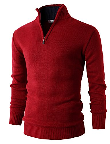 Mens Quarter Zip Striped Sweater - H2H Mens Casual Basic Pullover Sweater of Neck Zipper RED US XL/Asia 2XL (KMOSWL021)