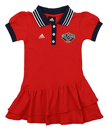 (adidas NBA Girl's New Orleans Pelicans Polo Dress, Red Small (4))
