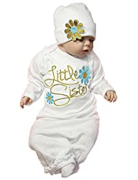 Newborn Girl Floral Take Home Outfit Baby Girl Gift Set Letter Sleepsack Gown