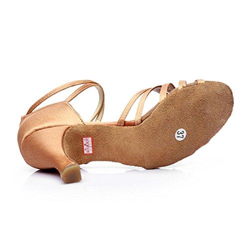 5 DorkasDE mit Tanz Ballsaal Mädchen Tanzschuhe Absatz Beige 7cm Damen Schuhe Tanzschuhe Latein Absatz Latein 7cm vvwBqr