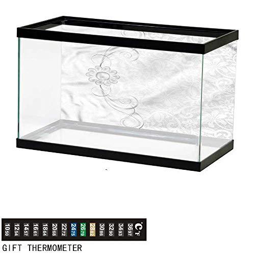 (bybyhome Fish Tank Backdrop Grey,Bridal Flourish Motifs,Aquarium Background,36