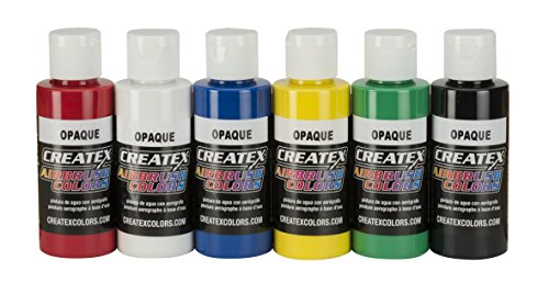 Createx Colors 5803-00 2 oz Opaque Airbrush Paint Set, 2 Ounce, Multicolor Createx Paint 2 Oz Bottle
