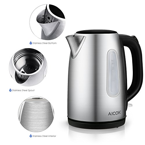 aicok electric kettle stainless steel cordless tea kettle. Black Bedroom Furniture Sets. Home Design Ideas