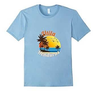 Mens Utila Honduras Beach & Dive Tshirt 2XL Baby Blue