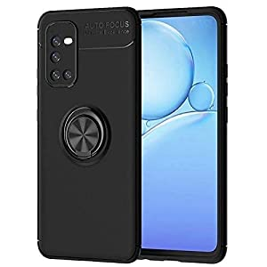 Spazy Case® vivo iQOO 7 Sleek Rubberized Case with Chrome Plating Ring Stand Back Cover Designed for vivo iQOO 7- Black
