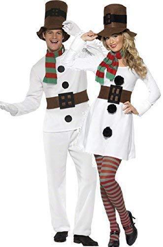 Ladies UK 1214 & Mens Medium Couples Ladies Mens Snowman Christmas Festive Xmas Fancy Dress Costumes Outfits (Ladies UK 810 & Mens Medium)