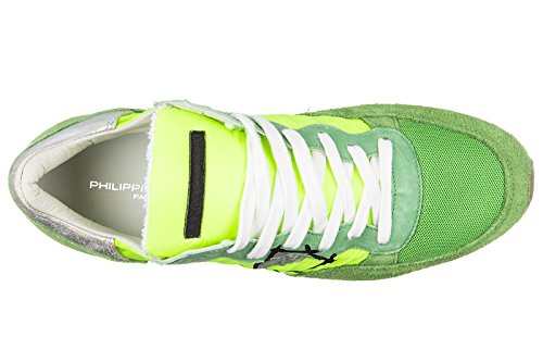 Philippe Model chaussures baskets sneakers homme en daim tropez vert