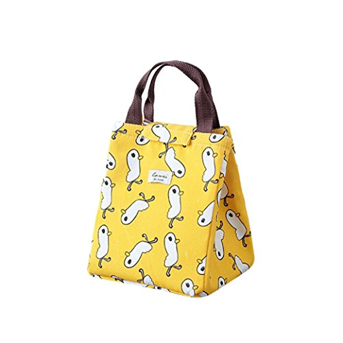 Lunch Box for Back to School Cartoon Pattern Thermal Insulated Tote Cooler Bag Bento Pouch Lunch Container (Yellow)