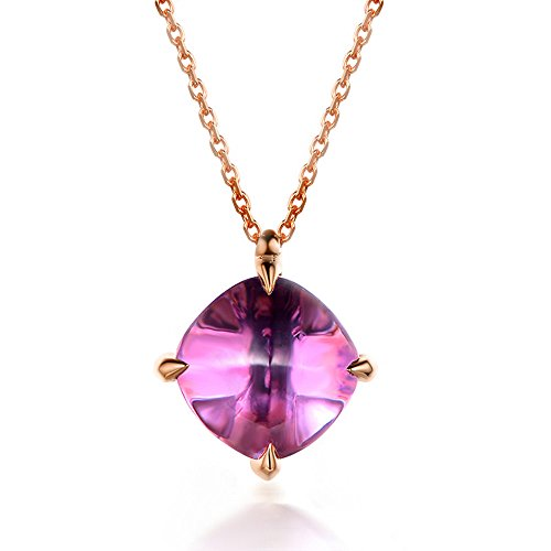 Purple Amethyst Pendant Solid 14k Rose Gold 3.5 carat Solitaire 925 Sterling Silver Necklace Chain Women by MYRAYGEM-Pendant