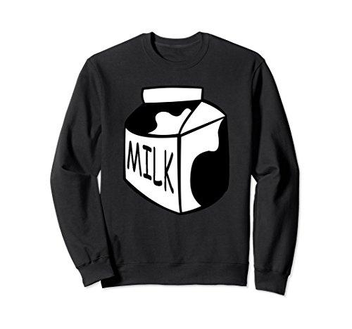 Unisex Funny Last Min Halloween Costume Milk Sweatshirt Big Top Large Black ()