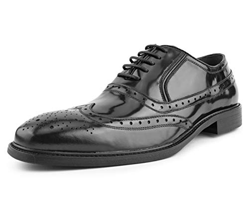(Asher Green Mens Genuine Box Calf Leather Wingtip Dress Shoe, Classic Lace-Up Oxford Style Black)