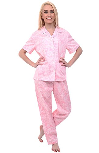 Alexander Del Rossa Womens Cotton Pajamas, Woven Pj Set with Pants, 2XL Pink with White Paisleys, Piping (A0518B412X)
