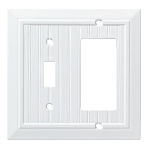 Natural Cottage Rocker - Franklin Brass W35270-PW-C Classic Beadboard Switch/Decorator Wall Plate/Switch Plate/Cover, Pure White