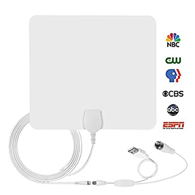 Amplified Digital Indoor HD TV Antenna, 50 Miles Range TV Antenna with Amplifier Signal Booster Upgraded Version -10ft Coax Cable (White)
