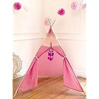 Tipi para niñas casita (sin Tapete) Teepee para niños de tela y madera, incluye atrapasueños y borlitas de colores.