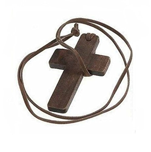 VNDEFUL Wooden Cross Pendant Leather Rope Necklace Men's and Women's Fashion Necklace Sweater Chain(Brown Rope)