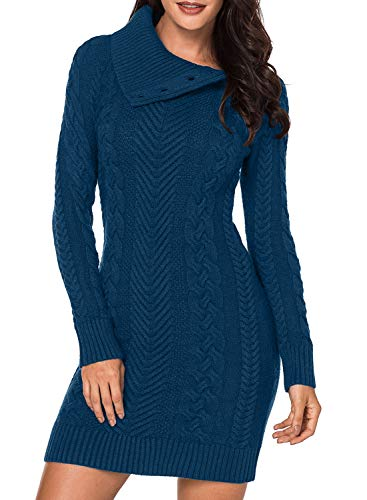 BLENCOT Women Long Pullover Sweater Full Sleeve Asymmetric Collar Slim Mini Sweater Dress Peacock Blue Medium