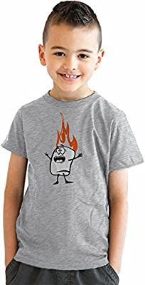 Youth Roasting Marshmallow Funny Camping Flame T shirt for Kids (Grey)