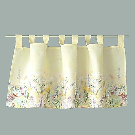 30 x 120 cm Raebel Scheibengardine Bistrogardine K/üchengardine Gardine Panneaux Bunte Blumen auf leicht gelben Untergrund