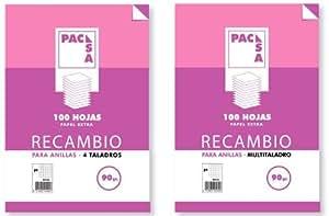 Pacsa - Recambio papel de 4 taladros A4, 100 hojas cuadriculadas