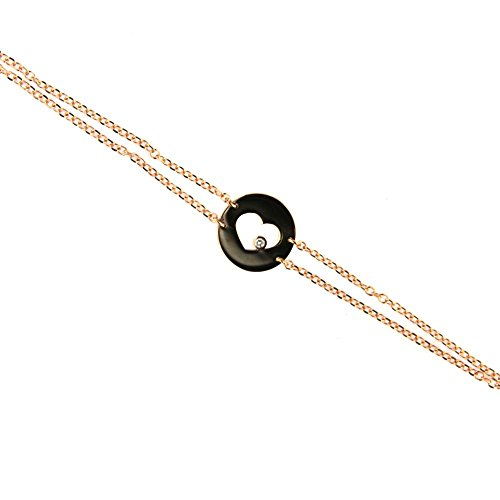 18K Pink Gold Diamond Circle Open Heart Doble Chain Bracelet. by Amalia