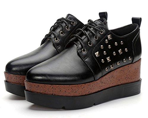 HiTime Femme Lacets à Noir Chaussures wAqz6RPxA
