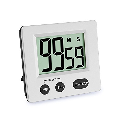 Digital Kitchen Timer, Big Digits Loud Alarm Clock Magnetic Stand with Large LCD Display for Cooking Baking Sports Games Office ()