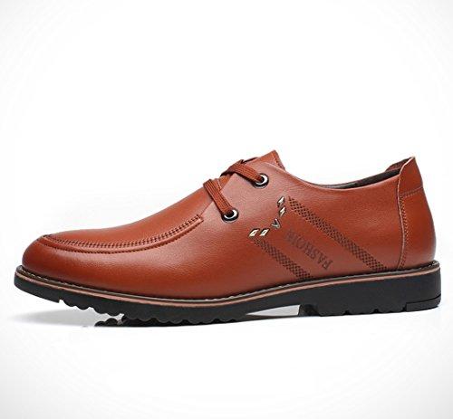 Feidaeu Homme Chaussures à Lacet Classique Commercial Leather Chaussure Bout Pointu Loisir Léger Inusable Respirent Souple Derby Brun 3rSu6A