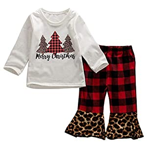 Marxways Toddler Baby Girls Christmas Tree Print Tops + Plaid Pants Trousers Bell-Bottom Pants Clothes (Red – 80)