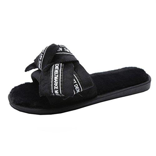 Negro Moño Zapatillas Libre Zapatos Flop Flip Imprimir Plano Letra Corbata Con Playa Mujer Diapositivas De Chanclas Color Verano Mezclado Sandalias Interior Aire Al Og6w4B0Bq