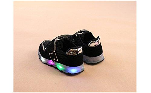 huateng LED Leucht Sportschuhe - Kinder Jungen und Mädchen Rutschfeste Sportschuhe Kleinkind Schuhe Schwarz