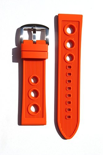 Breitling Rally Style 22mm ORANGE Rubber/Silicone Replacement Watchband