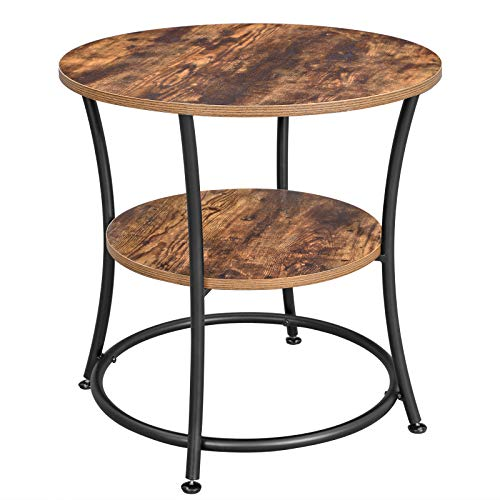VASAGLE DAINTREE Side Table, Round End Table with 2 Shelves, Living Room, Bedroom, Easy Assembly, Metal, Industrial Design, Rustic Brown ULET56BX