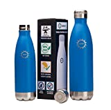 Stainless Steel Vacuum Insulated Water Bottle, BPA Free Double Walled Leak Proof Thermos Flask with Copper Lining, Drinks Stay Hot & Cold (17 oz, Ocean)