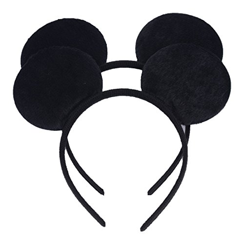 Set of 2 Mickey Minnie Mouse Ears Headband Boys and Girls Birthday Party Mom Hairs Accessories Baby Shower Headwear Halloween Party Decorations Costume Deluxe Fabric Ears with Dots Bow (Black)