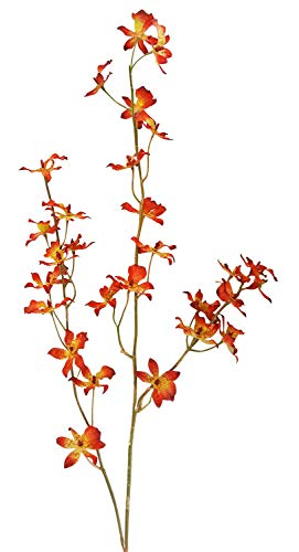 V-Max Floral Decor 37 inches Oncidium Orchid Spray (Pack of 12) - Orange