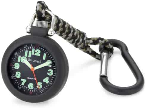 Bucasi PW1030B Military Luminous Easy To Read Spring Clip Pocket Watch