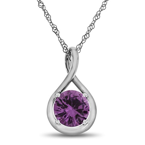 Pink Slide Sapphire - Finejewelers 7mm Round Created Pink Sapphire Twist Pendant Necklace Chain Included 10 kt White Gold