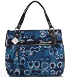 Coach Limited Edition Poppy Glam Shopper Bag Purse Tote 19881 Denim Blue