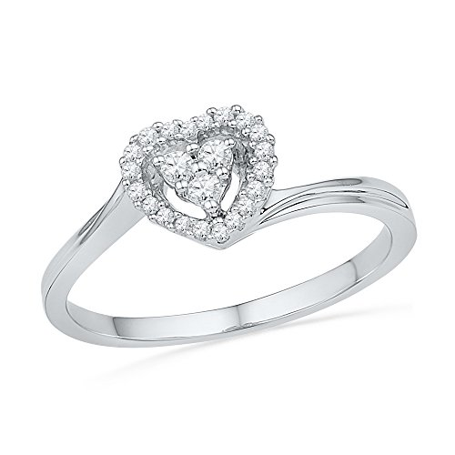 Size - 7 - Solid 10k White Gold Round White Diamond Engagement Ring OR Fashion Band Channel Set Heart Shaped Halo Ring (1/6 ()