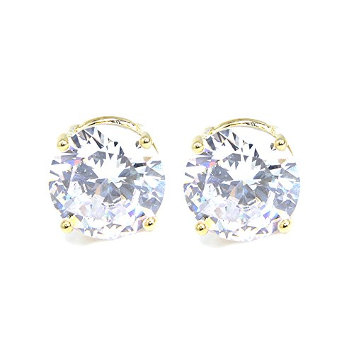 Me Plus Stainless Steel Round Cut Cubic Zirconia Stud Earrings With Clear Case - Gold, Silver (3mm~12mm) (8mm-Gold) Classic Clear Studs
