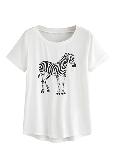 SweatyRocks Women's Short Sleeve Loose Casual Graphic Tee T-Shirt Tops White M