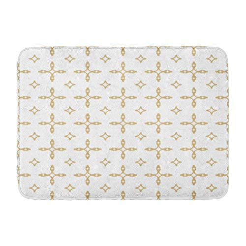 Moroccan Lattice Soopat Bath Mat,Gold and White Geometric with Square Grid Lattice Diamond Shapes Absorbent Non-Slip,Quick-Dry,Bathroom Rugs for Bathroom Indoor Doormat 17